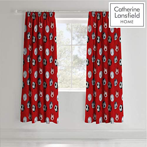 Catherine Lansfield Football Easy Care Pencil Pleat Curtains Red, 66x72 Inch