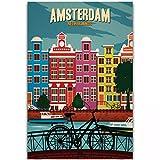 Chtshjdtb Amsterdam Vintage Travel Paisaje Turismo Pintura Póster Lienzo Imágenes Artísticas Imprimir Sala De Estar Decoración Para El Hogar Regalos-50X70Cm Sin Marco 1 Uds