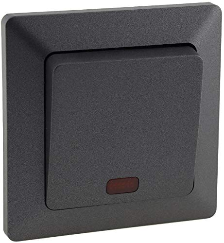 MILOS Kontrollschalter mit Beleuchtung 230V inkl. 1-fach Rahmen, Unterputz, Anthrazit
