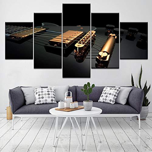 5 Paneles Decorativos Pintura Decoración Guitarra Negra Dorada Impresión artística Decoracion de Pared Moderno Impresión de...