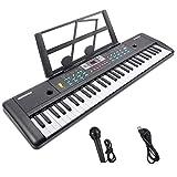 RenFox Digital Keyboard, Tastatur Klavier Digital Piano 61 Schlüssel Elektronische Klaviertastatur Einsteiger Tragbarer Elektronischer Tastatur mit Ständer & Mikrofon, Jungen und Mädchen Geschenk