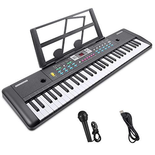 RenFox Tastatur Klavier Digital Piano 61 Schlüssel Digital Keyboard Elektronische Klaviertastatur Einsteiger Tragbarer Elektronischer Tastatur mit Ständer & Mikrofon, Jungen und Mädchen Geschenk