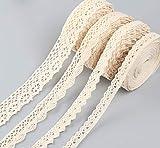 Sweelov 20M Vintage Spitzenband Beige spitzenband 4 Roll Baumwolle Dekoband Spitzenborte für Nähen Handwerk Hochzeit Deko Geschenkbox