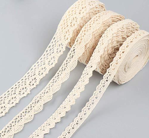 Sweelov 20 Meter Vintage Spitzenband Beige Spitzenband auf einer Rolle 4 Stück/5 Meter Baumwolle Dekoband Zierband Spitzenborte für Nähen Handwerk Hochzeit Deko Geschenkbox