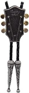 Kissvian Men Vintage Silver Guitar Head Bolo Bola Tie Cowboy Shirt Necklace