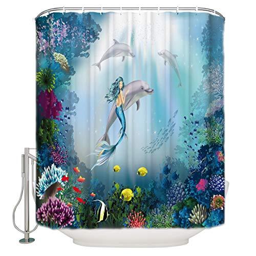 Wasserdichter Stoff-Duschvorhang oder -Innenfutter, Badezimmer-Duschvorhang, Stoff-Duschvorhang für Badewanne (blaue Meerjungfrau)