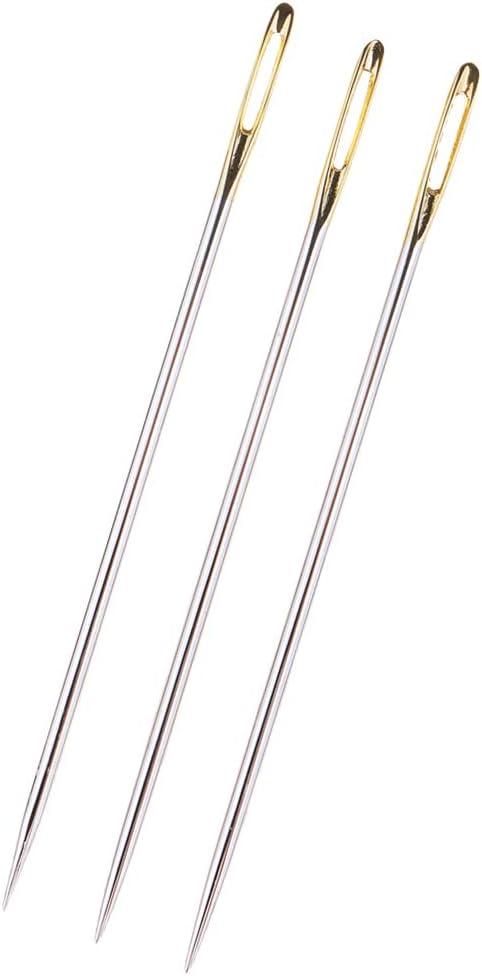 Bonarty Ranking TOP16 3Pcs Large Eye Steel Needles Inventory cleanup selling sale Sti Hand Crochet Cross Knit