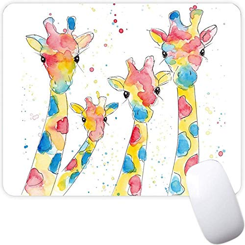 Mouse Pad for Boy Girl,Watercolor Family of Four Rainbow Giraffes Pattern Seamless Waterproof Gaming Mouse Pad Desk Accessories Non-Slip Rubber Mousepad for Laptop and Computer