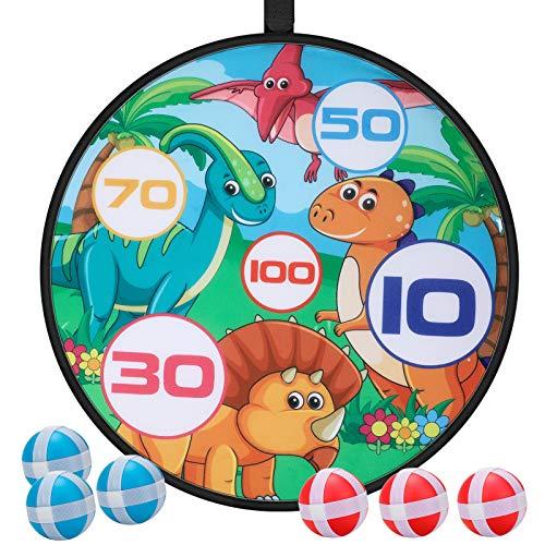 E-More Kinder Klett Dartscheibe für drinnen und draußen zum Aufhängen inkl mit 6 bunten Bällen, Dart Wurf Spiel Scheibe für Groß und Klein, 71cm, Dinosaurier-Muster
