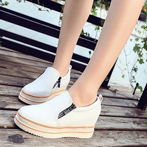 GTVERNH-El Surgimiento De Los Nuevos zapatos De Cuero blanco Lok Fu zapatos De mujer Paso Un Pie De Fondo Plano Lazy Bones zapatos Gruesos
