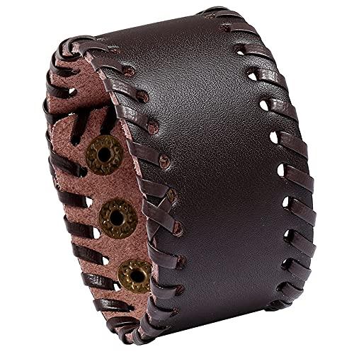 INMOFN Brazalete de cuero negro marrón para hombres y mujeres Punk Rock trenzado cuerda Wrap pulseras ajustables de cuero ancho pulseras,