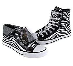 Gotta Flurt Women's Wildlife Black Zebra Canvas High Top Sneakers