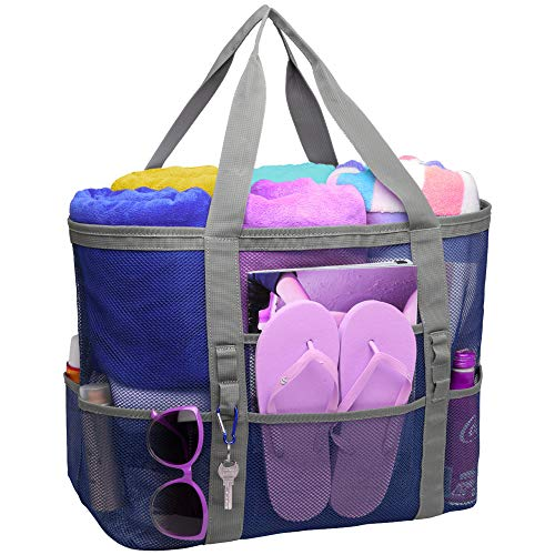 Packism Oversized Mesh Beach Bag 8 Pockets Beach Tote Travel Beach Toy Bag, Blue