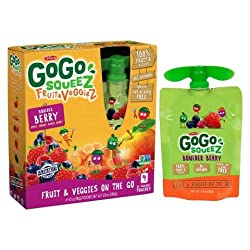 GoGo squeeZ Fruit & VeggieZ on the Go, Apple Mixed Berry Carrot, 3.2 Ounce (4 Pouches), Gluten Free,