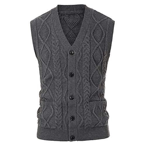Heren Breien Vest Tops Herfst Vest Mouwloos Trui V-hals Knop Knitwear
