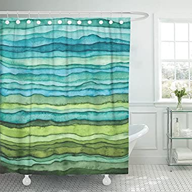 VaryHome Shower Curtain Abstract Bright Blue and Green Waves Stripped Watercolor Brush Drawn Waterproof Polyester Fabric 72 x 72 inches Set with Hooks