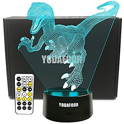 YODAFOOR Dinosaur Night Light Lamp Dinosaur Toy Gifts for Boys Teen Kids Birthday Halloween Nurcery Decor Lamp Bedroom Table Decoration (Dinosaur01) from YODAFOOR