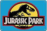 Jurassic Park Metal Sign Wall Letrero de Placa Pared Pintura Artística Nostálgico Estaño de Calle Familiar Cartel Decor