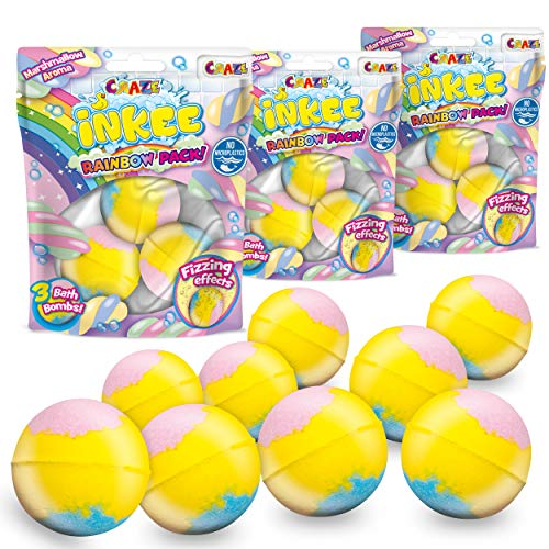 CRAZE- Pack 9 Bombas Infantil Arcoiris Perfumadas Efecto Efervescente. Lote 9 Sales de Baño Espumosas Multi Color para Bañera o Piscina de Niños con Olor a Nubes de Azúcar, Multicolor (30448)
