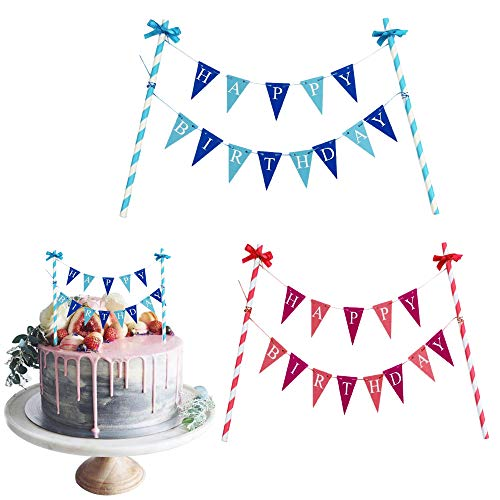 MIZOMOR 2 Piezas Topper de Torta,Decoración de Tartas,Banderines Idioma Inglés,'Feliz Cumpleaños' Azul y Rosa Banderines para Tartas, Rosquillas y para Fiestas de Cumpleaños