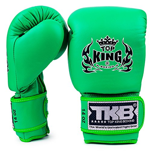 KINGTOP Top King - Guantes de Boxeo con Doble Cerradura, Color Verde neón, Color Verde neón, tamaño 12 onzas