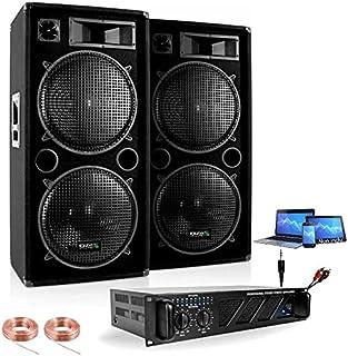 Pack Sono 4000W - 2 Enceintes Double Boomer 38CM 2X2000W Max - 1 AMPLI Sono 3000W Max - CÂBLAGE Enceintes - Cable PC - Idé...