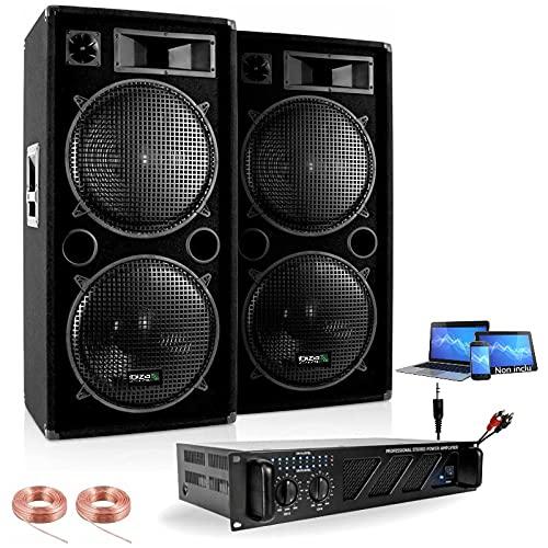 Pack Sono 4000W - 2 Enceintes Double Boomer 38CM 2X2000W Max - 1 AMPLI Sono 3000W Max - CÂBLAGE Enceintes - Cable PC - Idéal Grands éspaces Pack Sono DJ