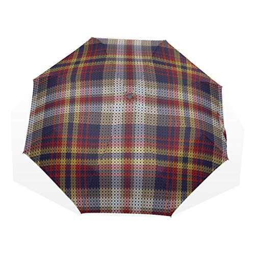 Mens Umbrella Compact Knitted Plaid Tartan Windproof Kids Rain Umbrella Boys Rain & Wind Resistant Compact and Lightweight for Business and Travels