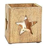 ToCi Windlicht Laterne Stern-Dekor aus Mango Holz | Glas Braun Dekoration mit Glaseinsatz | Holz Teelicht Halter Kerzenhalter 12 cm