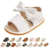 Baby Boys Girls Shoes Sandal Infant Summer Flats Premium Soft Rubber Sole Anti Slip Crib Toddler Breathable First Walker Shoes (White, 6-9 Months)