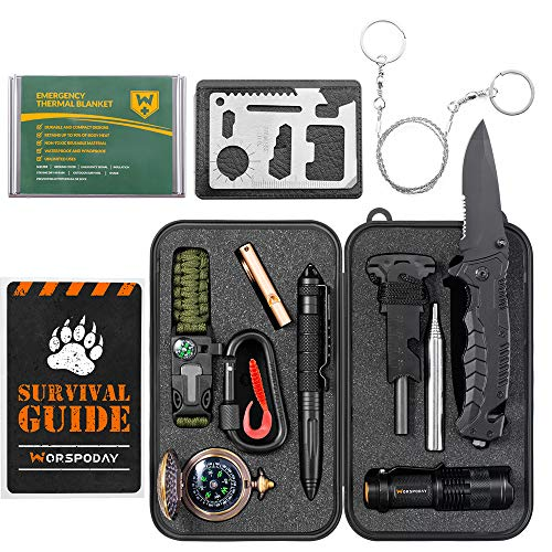 WORSPODAY Gifts for Men Dad Husband Grandpa - Survival Kit 16 in 1 - Fishing Camping Hunting Hiking...