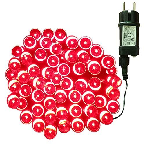 Tuokay 10M 100 LED Luces de Navidad Cadena de Luces Guirnalda de Luces con Adaptador 8 Modos Luces Decorativa Iluminación de Navidad para Arbol de Navidad, Fiesta,Boda (Rojo)
