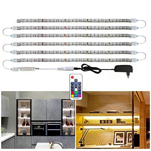 Tesfish luz led armario, 6 PCS x 50 cm 5050 RGB LED Tira de Gabinete, Impermeable luces led habitacion con adaptador de corriente y control remoto para Cocina dormitorio estante decoración del hogar