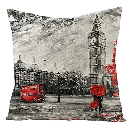KnSam Federe Cuscini Divano Decorativi in Lino, Caso Cuscino Cuscino 45x45cm Architettura della Città di Londra Federe per Letti e Divani Stile 1