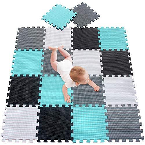 meiqicool Puzzlematte Spielmatte Spielteppich Schaumstoff Puzzle Kinderteppich Boden Puzzle kriechen Play Spiel Matte für Baby Kinder,Kleinkind sicher zu verwenden Türkis-Schwarz-weiß-grau 18 PCS