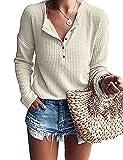 WNEEDU Women's Long Sleeve Waffle Knit Tunic Blouse Casual Button Up Henley Shirts Plain Tops Beige M