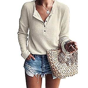 Women's Waffle Knit Tunic Tops Loose Long Sleeve Button Up V Neck Hen...