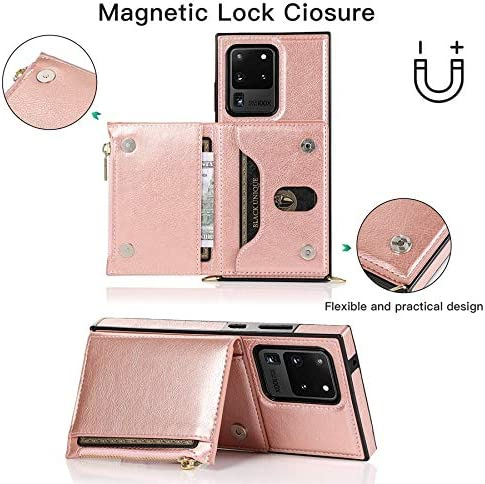 Case for Samsung Galaxy S20 Ultra, Zipper Wallet Case with Credit Card Holder/Crossbody Long Lanyard, Shockproof Leather TPU Case Cover for Samsung Galaxy S20 Ultra (Color : Rosegold)