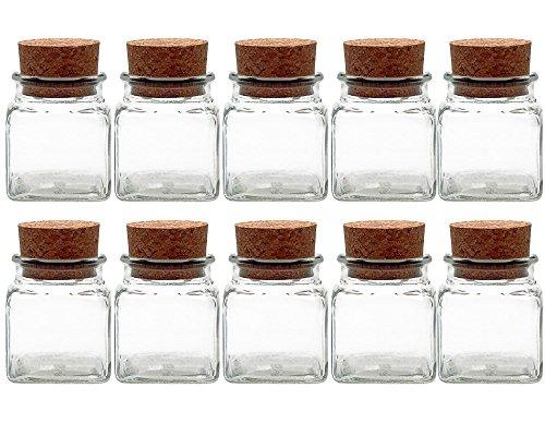 Kruidenpotjes set met kurken | 10-delig | inhoud 120 ml | vierkant hoogwaardig glas | glazen pot ideaal voor zout peper zonnebloempitten pompzaden kandis snoepglazen