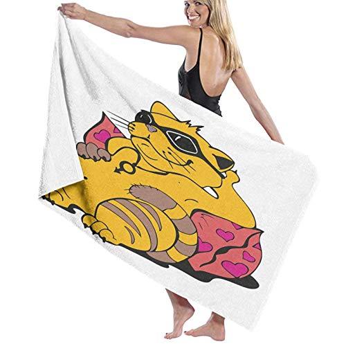 Grande Suave Toalla de Baño Manta,Fat Tomcat con Gafas acostado sobre un cojín Relajante Lazy Kitty Pets Pillow Cartoon,Hoja de Baño Toalla de Playa por la Familia Viaje Nadando Deportes,52' x 32'