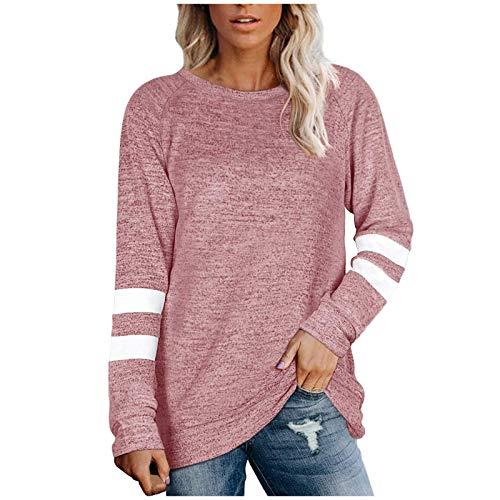 Chejarity Damen Langarm Farbblock Tunika Streifen Rundhals T-Shirt Bluse Langarmshirt Frauen Basic Top Elegant Oberteile (L, Rosa)