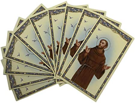 H HOLLY LINES St Francis Prayer Cards Catholic Saint Francis of Assisi Laminated Holy Cards product image