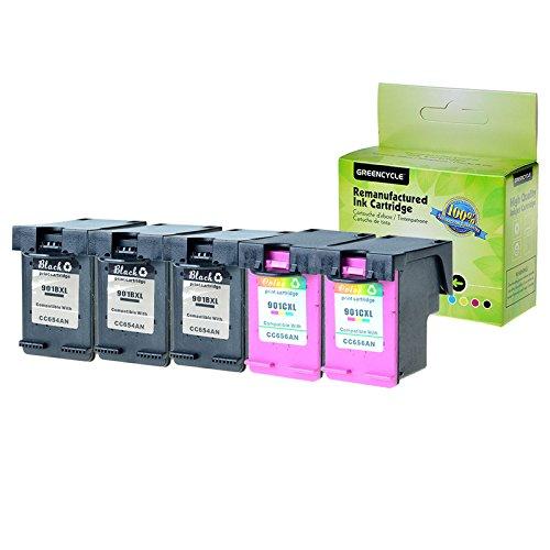 GREENCYCLE 5PK Remanufactured 901XL 901 XL High Yield Ink Cartridge CC654AN CC656AN CN069FN Compatible for HP Officejet 4500 J4540 J4550 J4580 J4680 J4500 J4524 J4624 J4640 Inkjet 3 Black 2 Tri-Color