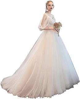 Bride Thin Shoulder Strap Wedding Dress Elegant Fluffy Skirt Formal Prom Lace Gown beautiful