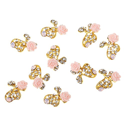 MagiDeal 10Pcs 3D Nail Art Bricolage Bling Charms Strass Paillettes Décorations - Or Rose