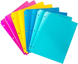 MAKHISTORY Plastic Folders with Pockets - 8 Pack, Plastic Folders with 3 Holes Punched, Keeps Letter Size Paper, Bright Colors