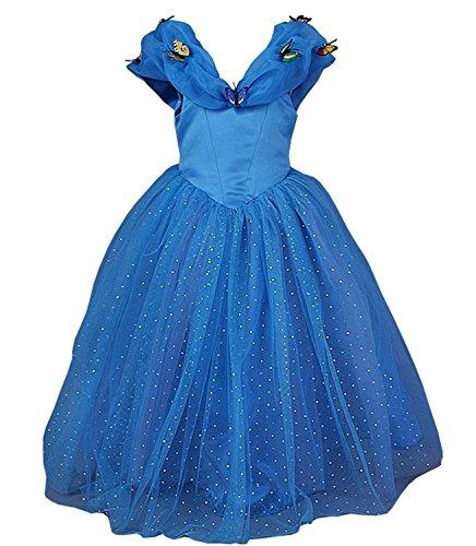 JerrisApparel Aschenputtel Kleid Prinzessin Kostüm Schmetterling Mädchen (100, Blau)