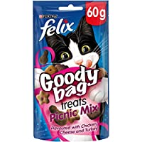 Felix Goody Bag Picnic Mix cat treats flavoured with chicken, cheese and turkey. Packed with three delicious flavours meaning triple the treats for your kitty to enjoy! Nutritious treats that we're sure your cat will love With omega 6 fatty acids to ...