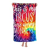 Microfiber Beach Towel Blanket This is My Circus These are My Monkeys Bath Towels for Adults Kids Girls Boys and Baby Designed Bath Towel