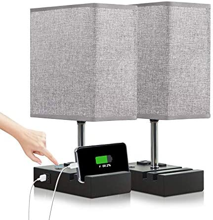 Lifeholder Touch Lamp with 2 Phone Stands Dimmable USB Lamp Include 2 Warm Edison Bulbs Grey product image